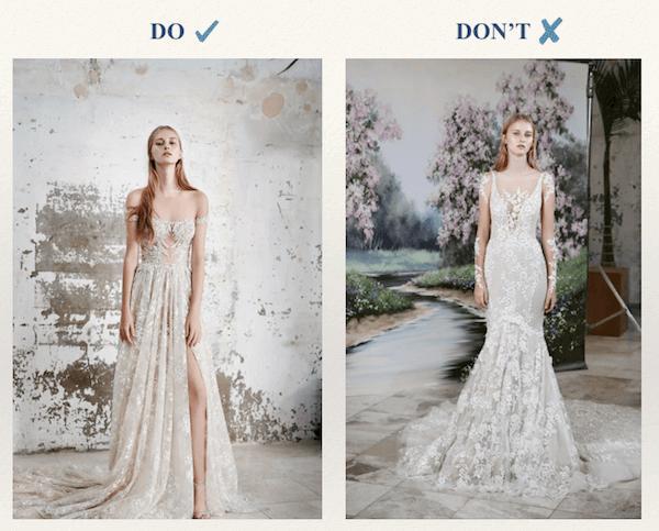 Muốn chọn được chiếc váy cưới phù hợp cô dâu có chiều cao khiêm tốn nên tránh xa những điều này