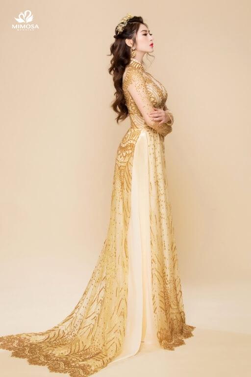 #15 mẫu Áo dài – Váy Cưới Màu Vàng Đồng Ấn Tượng và Nổi Bật